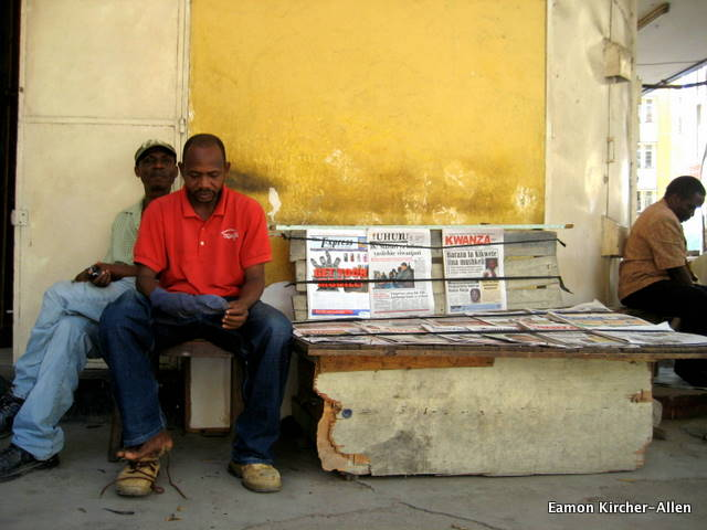 Selling the newspaper in Dar es Salaam