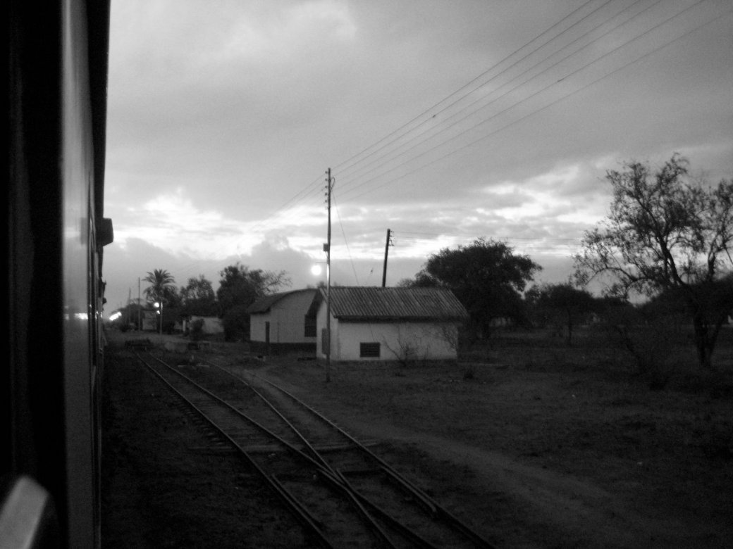 Deseerted station houses in the middle of Kenya, dawn.